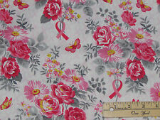 Anything is Possible Pink Ribbon Floral Breast Cancer Fabric by 1/2 Yd #42139
