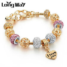 Love You Charms Gold Plated Crystal Rhinestone Purple Bead European Fit Bracelet