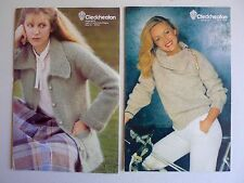 vintage retro 80s lot 2 original knitting pattern jacket jumper woman