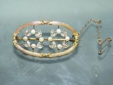 ANTIQUE FRENCH 18CT GOLD DIAMOND PEARL BROOCH 1880