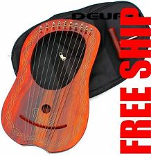 10 Strings ROSEWOOD Lyre Harp Celtic + Tuning Key & bag Case $69.95