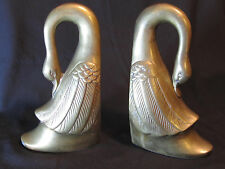 TWO VINTAGE SOLID BRASS GOOSE GEESE BOOKENDS / DOOR STOPS FULL BODY WATERFOWL