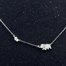 925 Sterling Silver Cubic Zirconia Pave Auspicious Lucky Elephant Chain Necklace