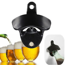 1PC Black Mini Wall Mounted Stainless Steel Wine Beer Glass Cap Bottle Opener