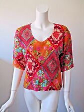 KISCA by Komarov Colorful Hobo Geometric Prints Stretch Fit Pleated Top L/XL