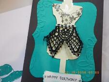 Handmade Happy BIRTHDAY Card EMBOSSED BLING DRESS Using Stampin Up Lace 3D