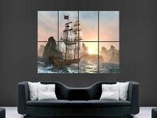 PIRATE SHIP POSTER SEA WAVES SUNSET WALL ART PICTURE PRINT LARGE HUGE