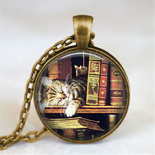 HOT Vintage Cat and Books Cabochon Bronze Glass Chain Pendant Necklace