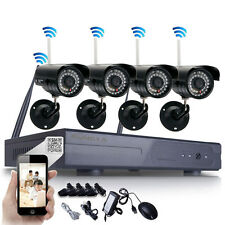 4PCS WIFI Outdoor IP P2P Cameras 8CH 1.0MP 720P Wireless CCTV Security System US