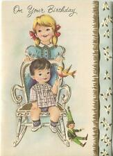 VINTAGE CHILDREN PUPPET TOY BIRTHDAY CHRISTIAN BIBLE VERSE GREETING CARD PRINT