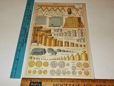 Rare Antique Original VTG Metric System Guide French Color Litho Art Print