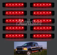 10 x Red 6 LED Side Marker Indicators Lights Rear Pickup Van Truck Trailer Bus