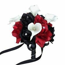 "8""Apple red & Black Rose,Real Touch Calla Lily Wedding Bouquet Silk Flower"