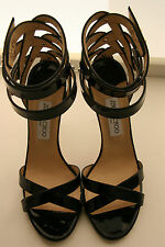 Jimmy Choo Sandals Black Patent Criss Cross Straps Up Ankle Sz 39 1/2 New In Box