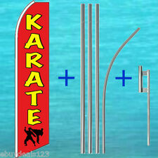 KARATE FLUTTER FLAG + 15' TALL POLE MOUNT KIT Feather Swooper Banner Sign 3055