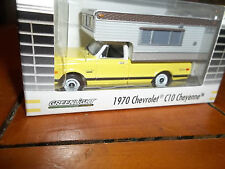 GREENLIGHT 1/64 YELLOW 1970 CHEVROLET C10 CHEYENNE PICKUP WITH CAMPER