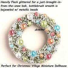 Vintage Style xmas village Dollhouse miniature  glitter flocked sisal Wreath