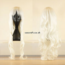80cm long wavy curly cosplay wig in white, UK seller, Jeri style