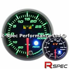 Green / White Stepper Motor Peak Turbo Boost Gauge Psi With Adjustable Warning