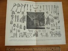 OLD 1886 ILLUSTRATION ANCIENT ASSYRIAN BABYLONIAN PERSIAN JEWELRY TOOL HISTORY +
