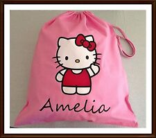 PERSONALISED GIRLS HELLO KITTY PE PUMP GYM SCHOOL NURSERY DRAWSTRING COTTON BAG