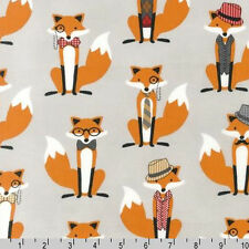 FAT QUARTER-Fox and The Houndstooth Fabric Robert Kaufman AHE-14422-12 Grey