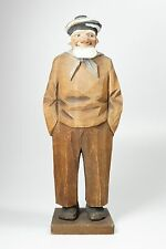 Vintage Signed 1930 Carl Johan Trygg Wood Carving Sailor Fisherman 10.75""