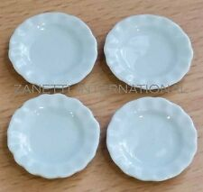 Set of 4 Dollhouse Miniature Ceramic Plate / Dishes*Doll Mini Food 1-inch Plates