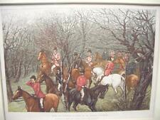 Antique full color print c1890  English Fox Hunting  Matted  Excellent Condition