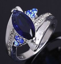 Jewellry Size 8 Fantastic Blue Sapphrie 18K Gold Filled Women's Anniversary Ring