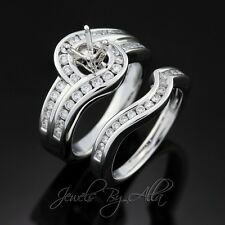 Ladies Womens 14k White Gold Bridal Set Wedding Engagement Ring Band Setting