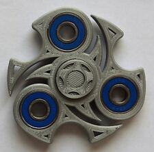 SILVER NINJA  Fidget 3 D Printed Hand Spinner With  Blue  Steel  Bearings GOAT !