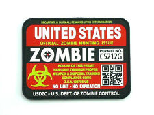 United States Zombie Hunting Permit Outbreak Response Team   PVC Patch Hook Loop