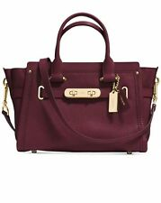 NWT $450 Coach 34816 Swagger 27 Pebble Leather Handbag Satchel Burgundy
