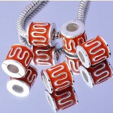 5Pcs White  Silver Filled Enamel Charms BEADS For European DIY Womens Bracelet