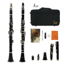 Lujo B Clarinete Baquelita Cuerpo Latón 17 Níquel Plateado Teclas & Carpeta