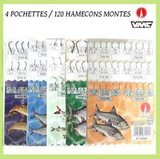 hamecons, hamecons montés, peche, lot x 120, 4 pochettes, mer, rivière, etc
