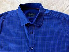 Bugatchi Shaped Fit Casual Shirt Mens L Blue/Purple Checked w/Contrast Cuffs NEW