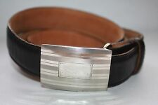 VG TIFFANY STERLING ENGINE TURNED BUCKLE WITH BLK CALFSKIN STRAP  MSRP $445.00