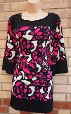 BM WHITE BLACK PINK FLORAL LYCRA FORMAL ELEGANT BLOUSE TUNIC CAMI TOP 22