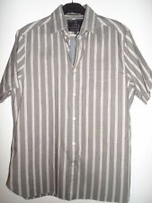 M&S LUXURY FINEST QUALITY COTTON FABRIC BROWN STRIPED SHIRT SIZE M (38-40)