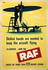 WW2 ROYAL AIR FORCE EX AIRMEN JOIN THE RAF POSTER NEW A4 PRINT