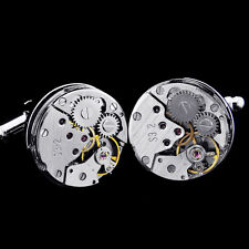 New Steampunk Vintage Mens Cufflinks Watch Movement Wedding Silver Cuff Links