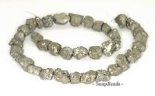 12MM-10MM PALAZZO IRON PYRITE GEMSTONE RUGGED NUGGET PEBBLE LOOSE BEADS 6.5""