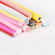 10pc Sweat Candy Bonbon Slice Fimo Polymer Clay Cane Nail Rods Slice Tip Sticker