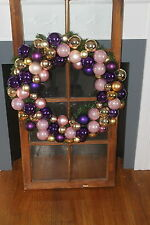 """GORGEOUS CHRISTMAS PURPLE GOLD PINK BALLS BULBS HOLIDAY DECORATION WREATH 24"""""""