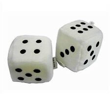 3 INCH WHITE FUZZY DICE PAIR mirror car decor decoration furry new hot rod cars