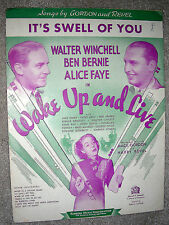 1937 IT'S SWELL OF YOU Sheet Music ALICE FAYE Wake Up and Live by Gordon, Revel