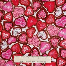 Valentine's Day Fabric - Red Chocolate Hearts on White - Benartex Kanvas YARD