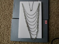 Multiple Strand Bib Style Necklace in Stainless Steel - Gorgeous 36 inches